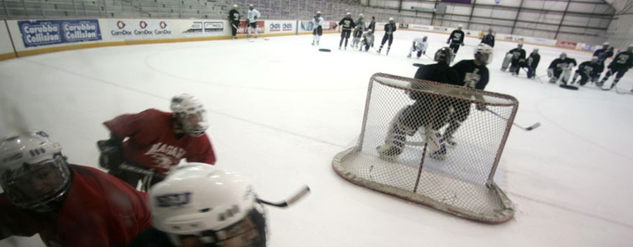 NU hockey practice at Dwyer